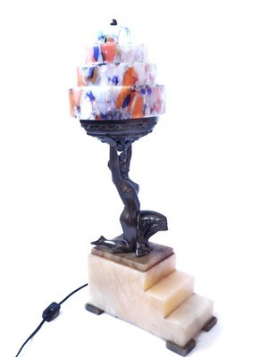 Art Deco 1920s Flapper Table Lamp, Czech Spatter Glass Skyscrapper Shade