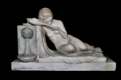 Art Deco Hand Carved Reclining by Lion Fountain Nude Marble Sculpture Lamp