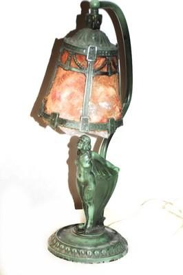 RARE 1922 Ronson Bat Woman Lady with Cloak Lamp Green Patina and Original Cloth Shade