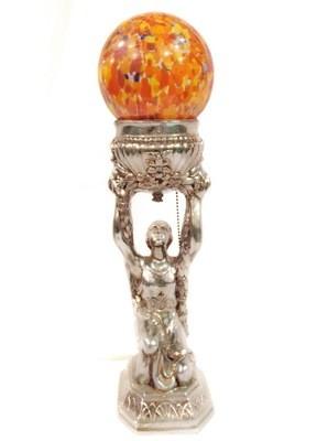 1920s Egyptian Revival Goddess Table Lamp Silvered Spatter Glass Globe Shade