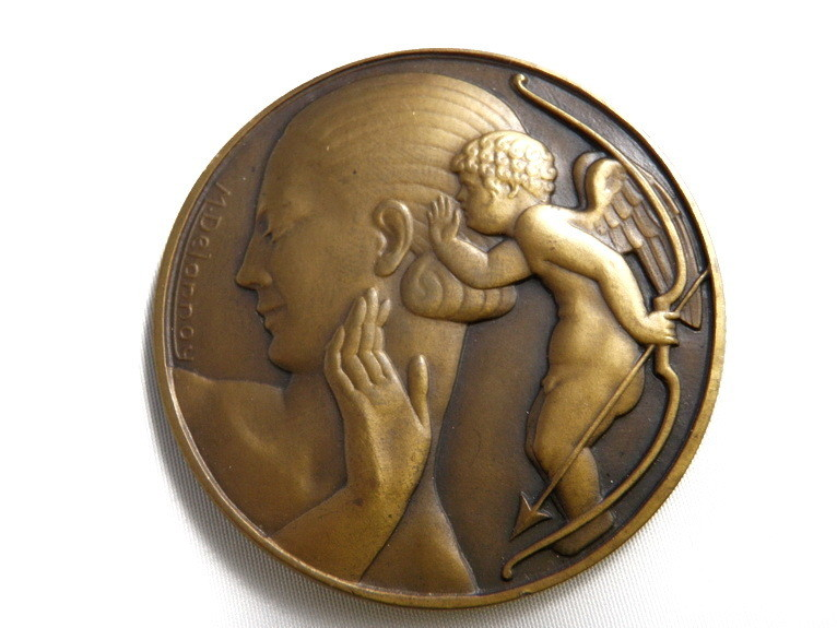 Art Deco French Medal M. Dalannoy Bronze Cherub Angel