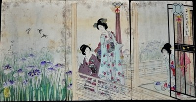 1890s Toyohara Chikanobu Triptych Geisha Woodblock Painting Tea House