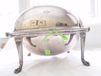 Mappin & Webb 1930s Art Deco Serving Dish Domed Retractable Lid
