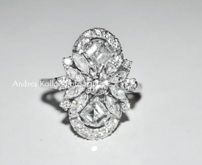 Custom Made 2.40 Carat VSI-G Diamond Art Deco Ring Set in Platinum