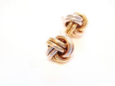 Estate Designer 9k Love Knot Earrings Pink White Gold