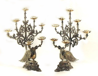 Pair 19th Century Sculptural Phoenix Church Alter Candlesticks Candelabras Silverplated