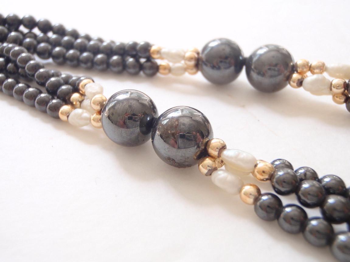 Hematite Natural Pearl Multi Strand 32 Inch Necklace