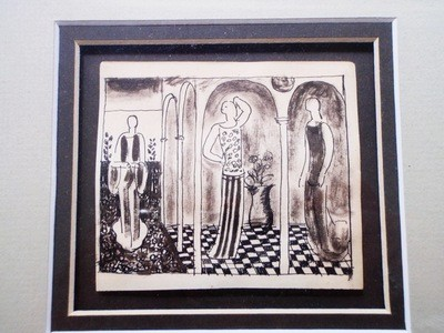 Framed Art Deco Edward Buk Ulreich Flappers Painting Listed Artist
