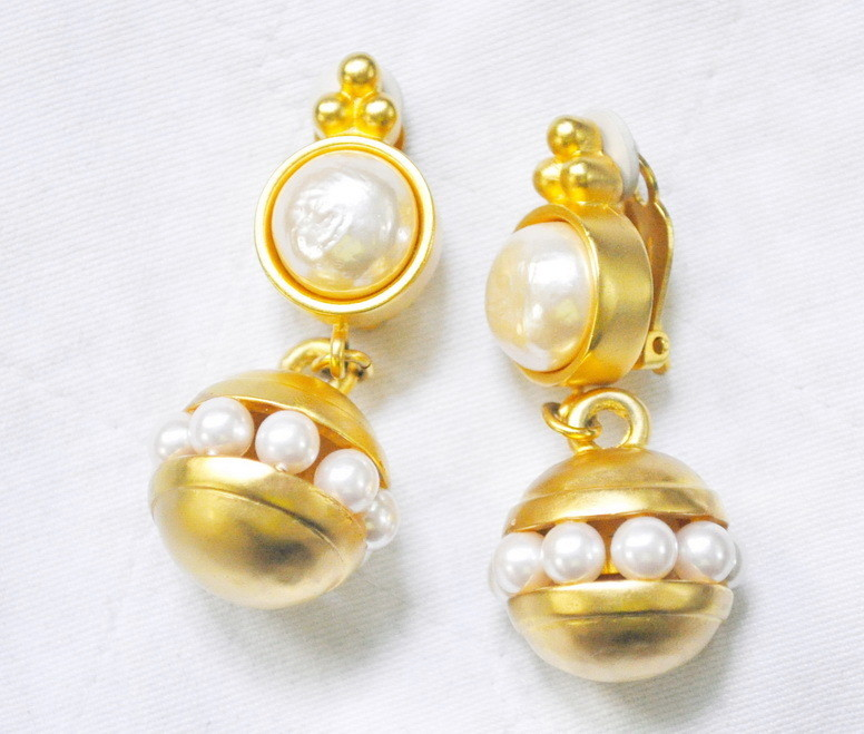 Vintage Karl Lagerfeld Baroque Pearl Gold Plated Earrings