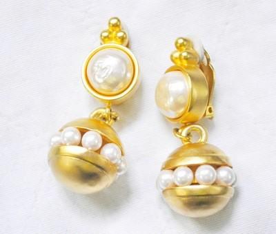 Vintage Karl Lagerfeld Baroque Pearl Gold Plated Earrings