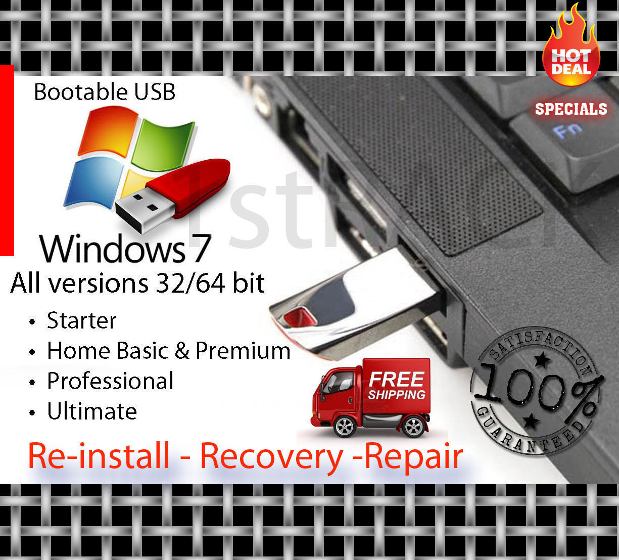 WINDOWS 7 USB Drive w// SP1 32 64 bit Recovery Install Re-Install Ultimate
