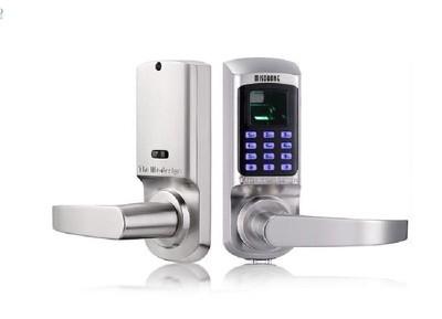 Fingerprint and Touchscreen Keyless Smart Lever Door Lock (Satin Nickel)