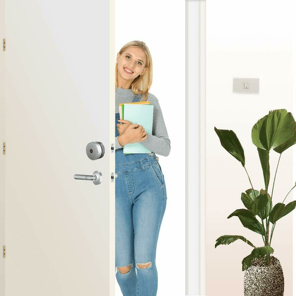 Smart Door Lock (Electronic Deadbolt Lock),Keyless Entry Work with iOS&Android,Easy to Instll (Silver,No Battery Include)