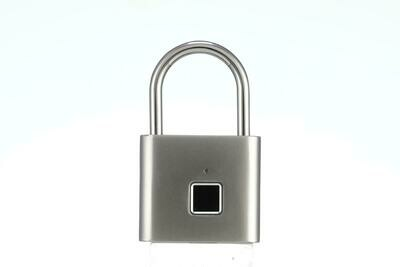 Fingerprint Padlock for Locker, Sports, School & Employee Locker, Outdoor, Fence, Hasp and Storage - All Weather Metal and Steel IP65 (Silver)