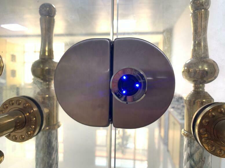 No Need Drill Hole Smart Glass Door Lock for Double Door Fingerprint/App Unlock