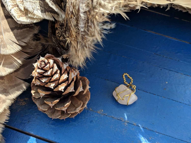 Handwrapped Ceremonial Rose Quartz Crystal Necklace