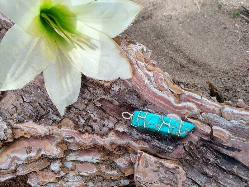 Unified Field Silver HandWrapped Turquoise Crystal