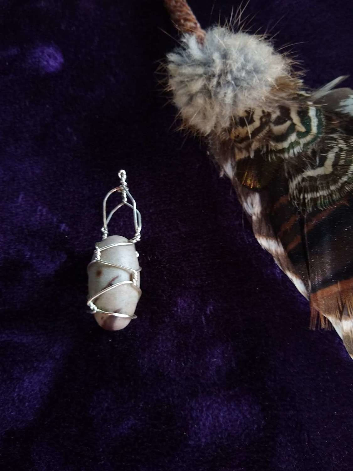 Ceremonial Silver HandWrapped Shiva Lingam Crystal