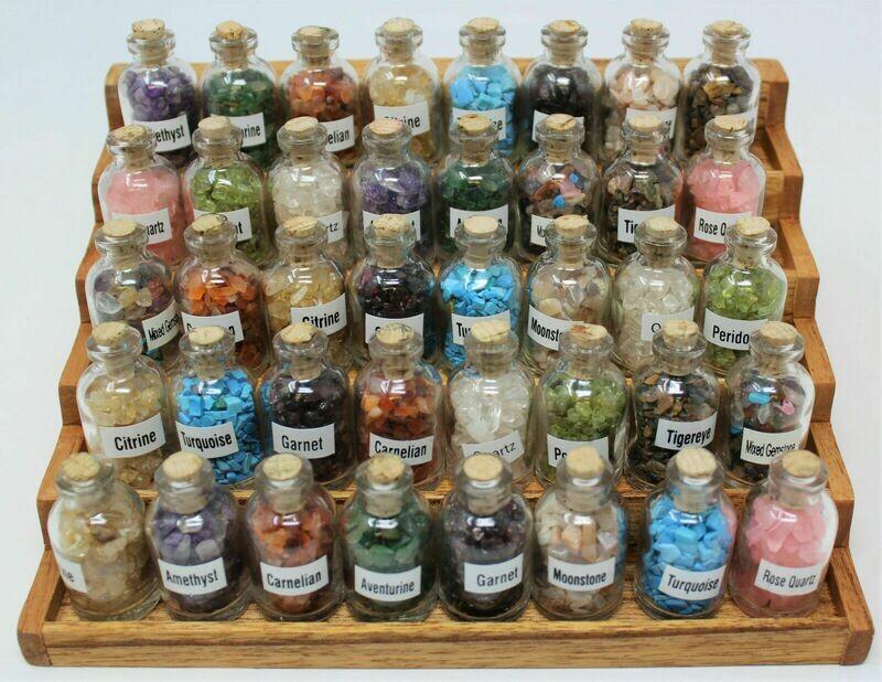 Glass Bottled Ceremonial Crystal Gems ~ SET OF 50