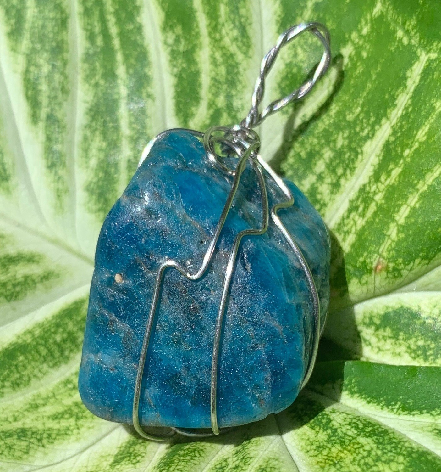 Blue Apatite Hand Wrapped Ceremonial Crystal