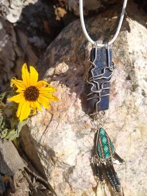 Ceremonial Silver HandWrapped Lapis Lazuli Crystal