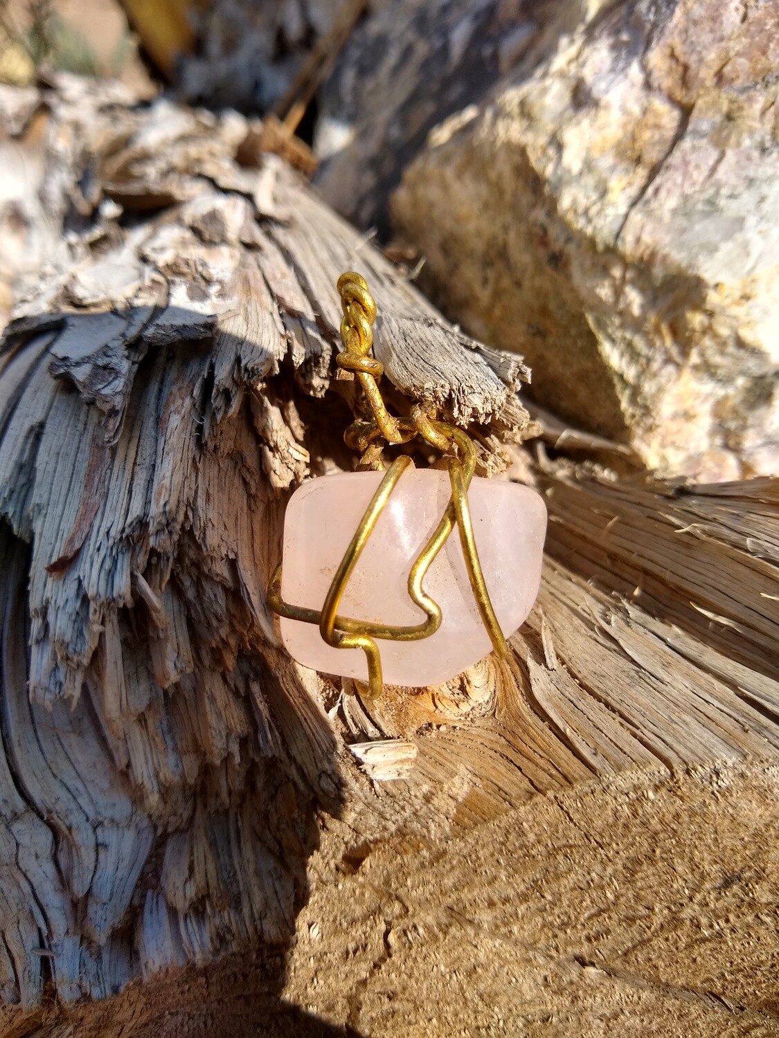 Ceremonial Gold HandWrapped Rose Quartz Crystal