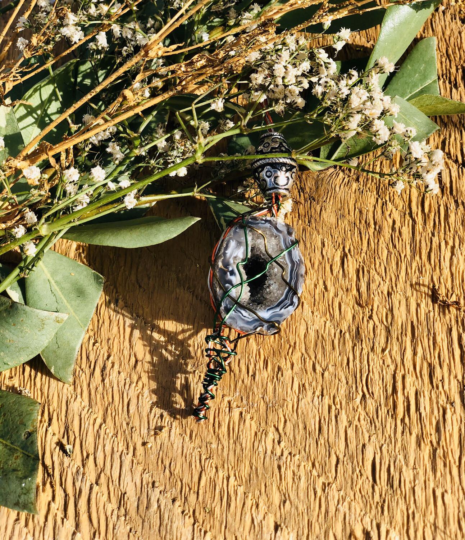 Ceremonial Agate & Quartz Crystal Keychain