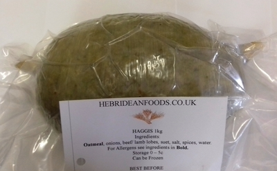 Hebridean Foods Traditional Scottish Natural Skin Haggis Ball 1kg Approx