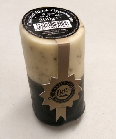 Arran Cheddar Cheese with Cracked Black Peppercorns 200g CheesePepper
