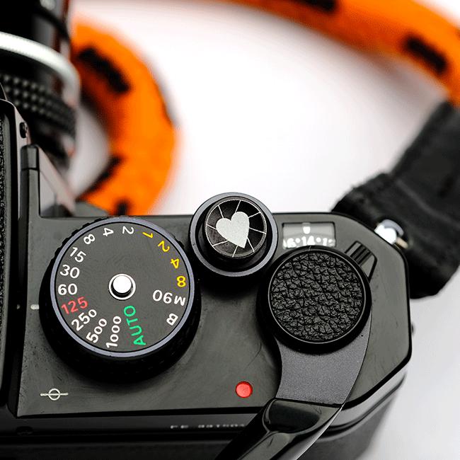 Haperture. Black shutter button. Concave