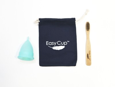 The EasyCup™ One-Size Menstrual Cup Kit with Bag and Cleaning Brush