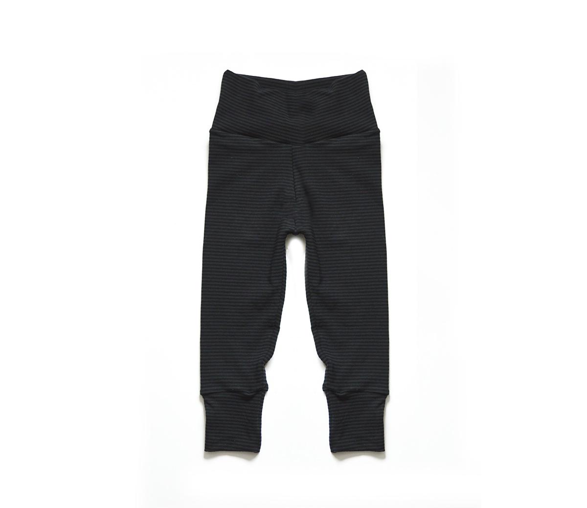 Little Sprout One-Size Pants™ Black & Charcoal Stripes - Cotton 00741