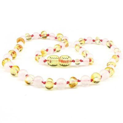 Baltic Pines™ Gemstone & Baltic Amber Teething Necklace or Bracelet - Honey & Rose Quartz