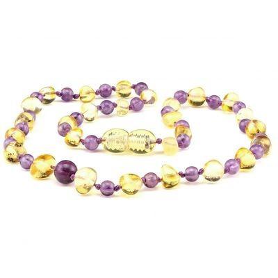 Baltic Pines™ Gemstone & Baltic Amber Teething Necklace or Bracelet - Honey Amber & Amethyst