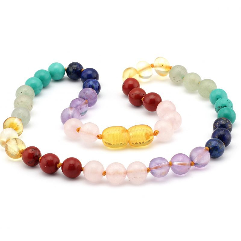 Baltic Pines™ Gemstone & Baltic Amber Teething Necklace - Honey Amber & Mixed Gemstones 00921
