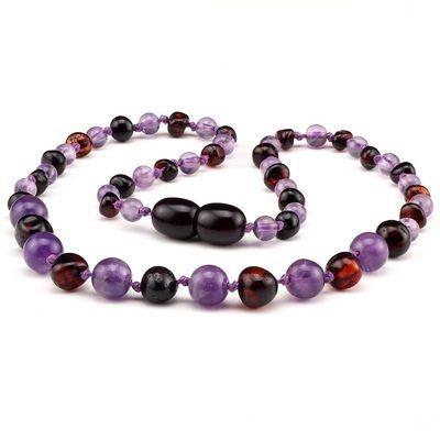 Baltic Pines™ Gemstone & Baltic Amber Teething Necklace or Bracelet  - Dark Amber & Amethyst