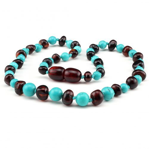 Baltic Pines™ Gemstone & Baltic Amber Teething Necklace or Bracelet - Dark Amber & Turquoise 00923