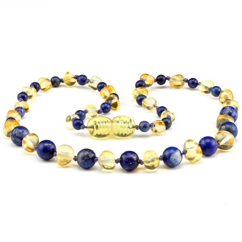 Baltic Pines™ Gemstone & Baltic Amber Teething Necklace or Bracelet  - Honey Amber & Lapis Lazuli 00927
