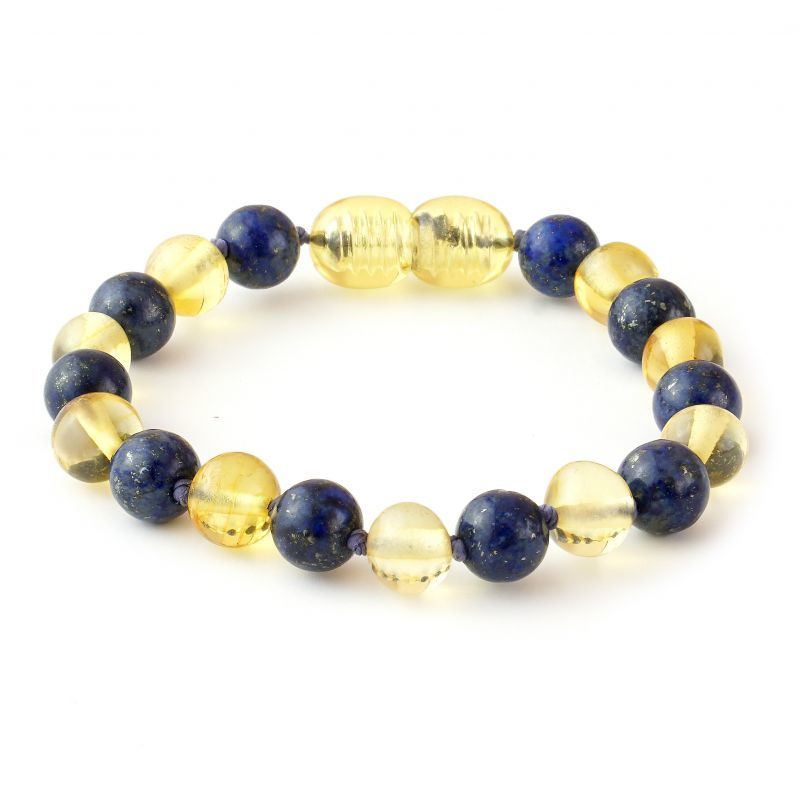 Baltic Pines™ Gemstone & Baltic Amber Teething Necklace or Bracelet  - Honey Amber & Lapis Lazuli