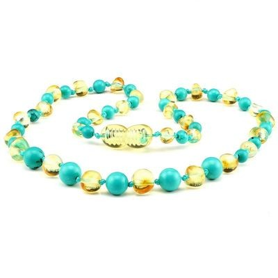 Baltic Pines™ Gemstone & Baltic Amber Teething Necklace or Bracelet - Honey & Turquoise
