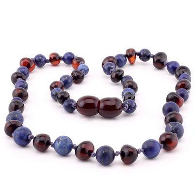 Baltic Pines™ Adult Size Gemstone & Baltic Amber Necklace or Bracelet - Dark Amber & Lapis Lazuli