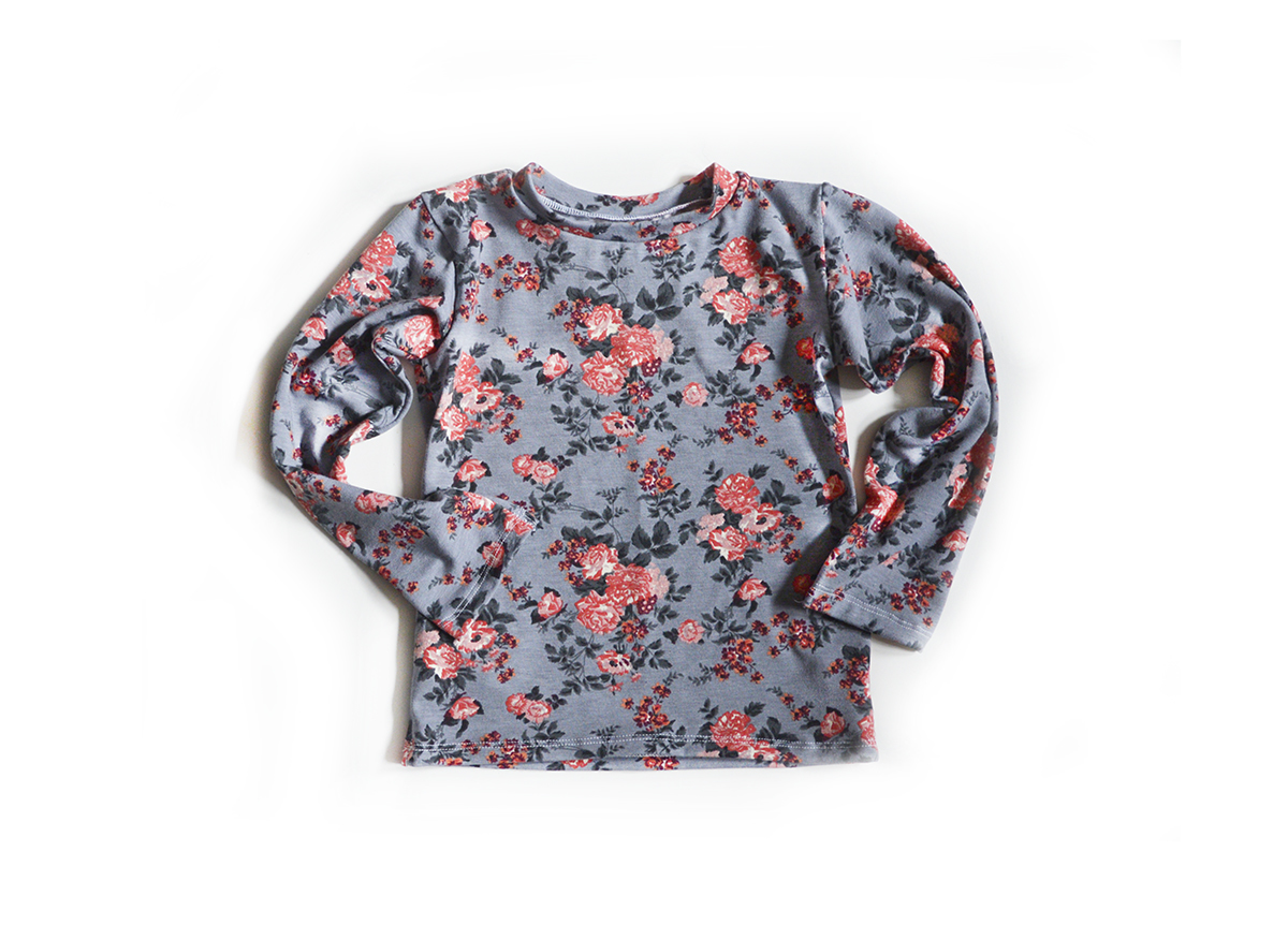 Little Sprout™ Kids Long Sleeve T shirt Floral on Grey 00951