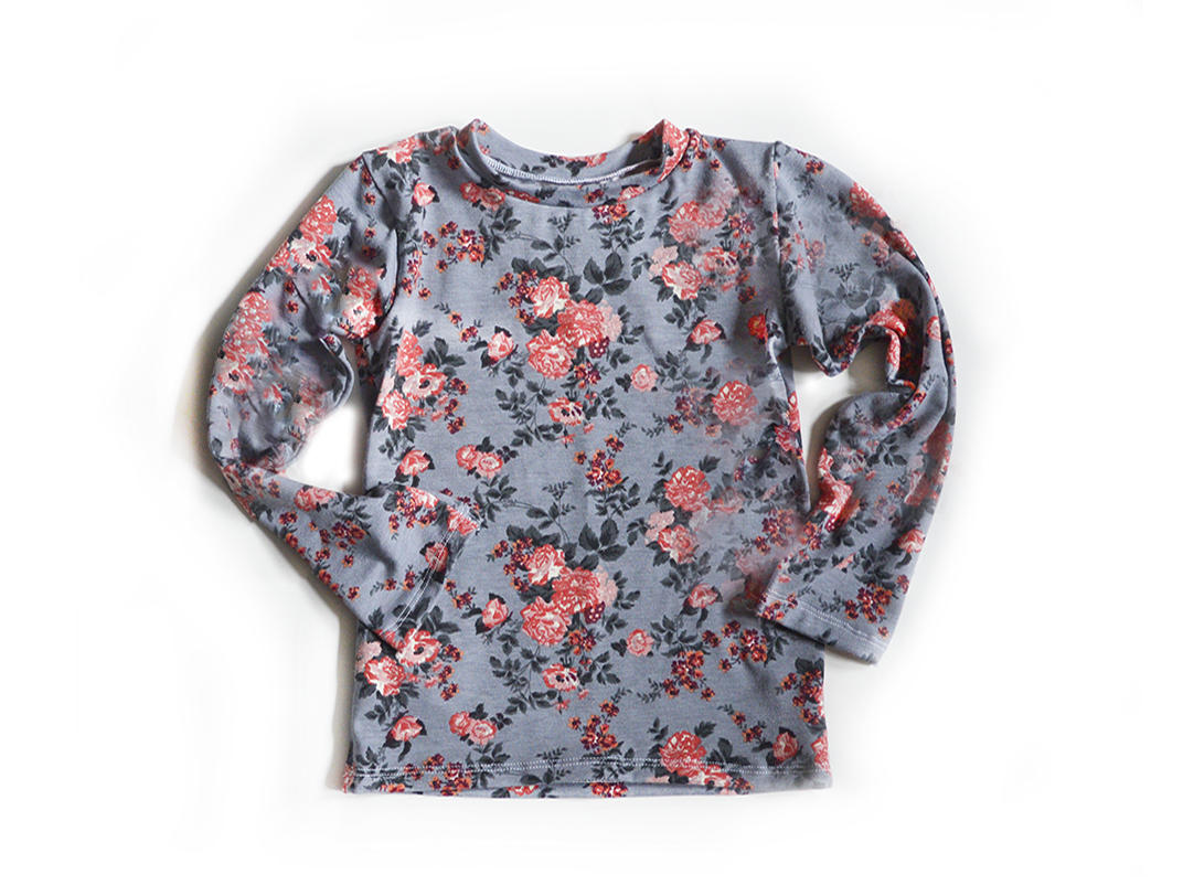 Adult Sized Long Sleeve T-Shirts - Floral on Grey 00952