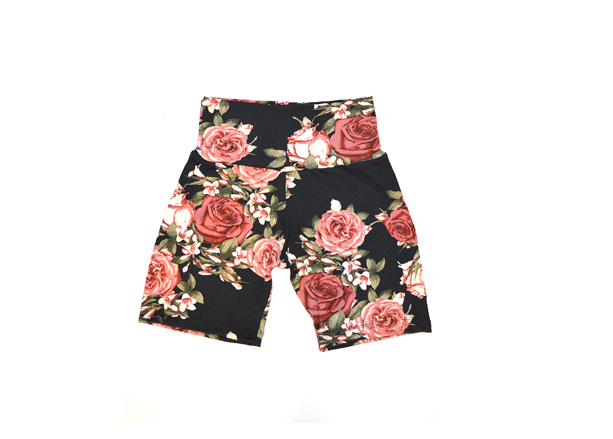 Ladies High-Waisted Floral Fitted Shorts - Casual, Yoga Style 01003