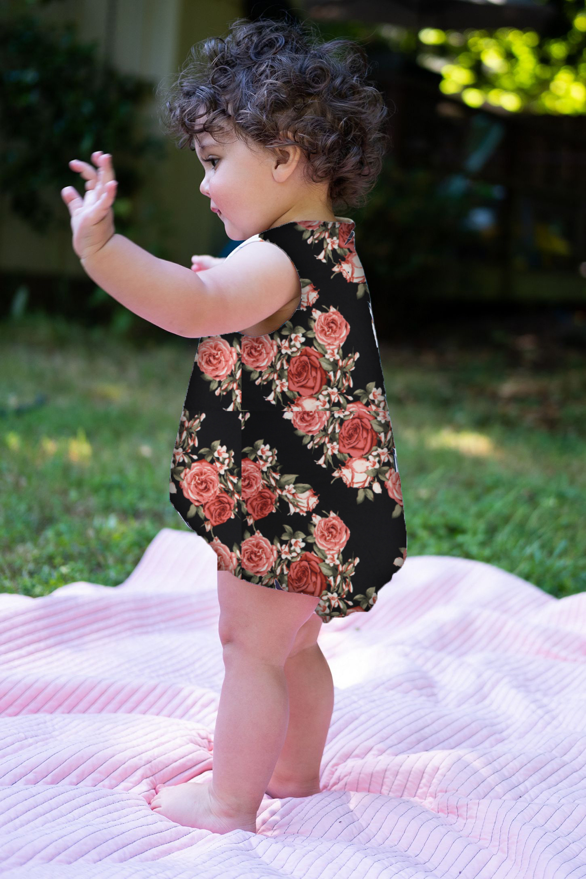 Floral Baby Romper Onesie with Snaps - Rosie