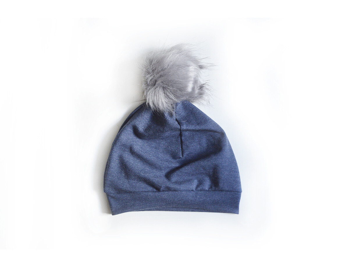 Little Sprout Pom Pom Beanie Hat in Dark Denim | NEW Fall 2019