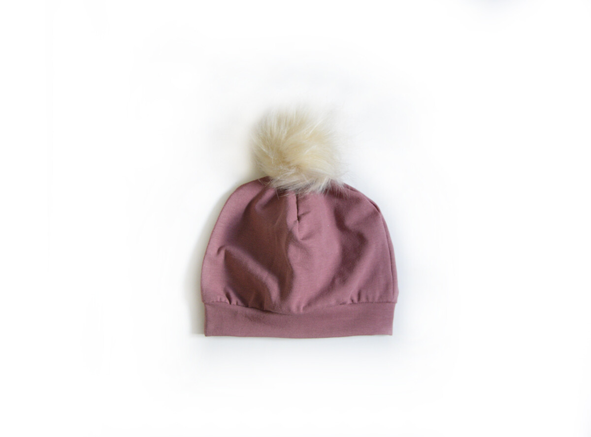 Little Sprout Pom Pom Beanie Hat in Mauve | NEW Fall 2019