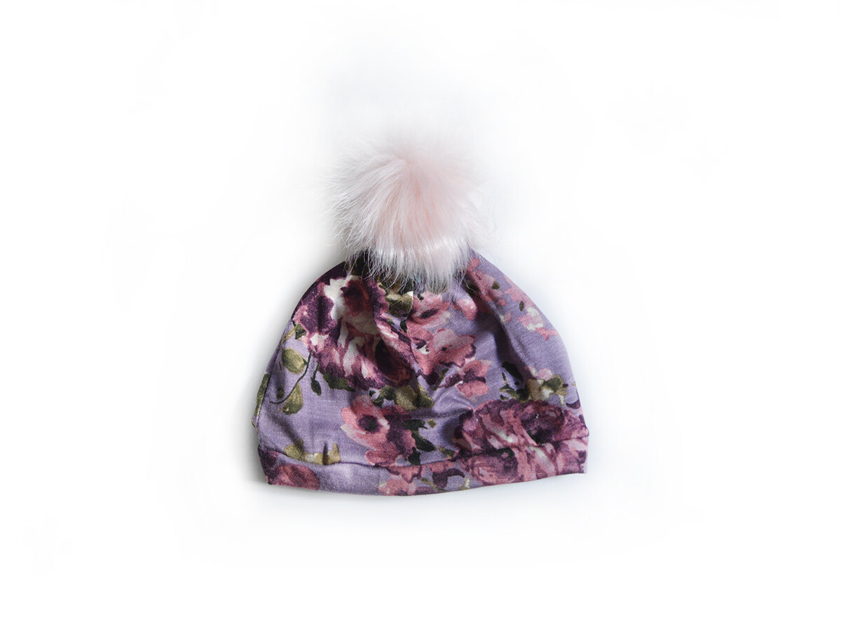 Little Sprout Pom Pom Beanie Hat in Mauve Floral   NEW Fall 2019