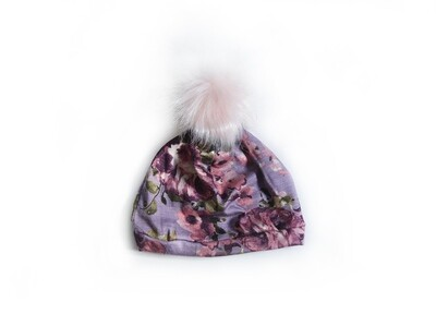 Little Sprout Pom Pom Beanie Hat in Mauve Floral | NEW Fall 2019