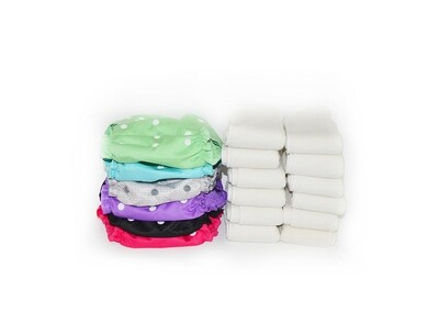 Easy Peasies® The Full Kit™ - 6 One Size Cloth Diaper Covers + 12 Inserts - Starter Pack Stash